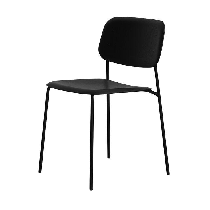 Soft Edge Stuhl mit Stahlgestell schwarz seidenglänzend -  - A053154.002