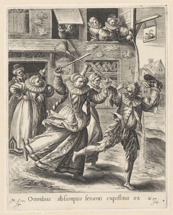 De verloren zoon weggejaagd bij de hoeren, Crispijn van de Passe (I), 1580 - 1588