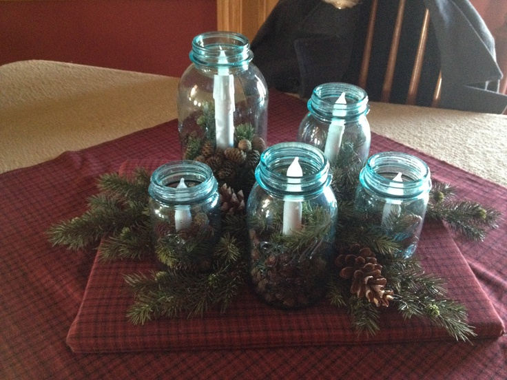 Dining room table centerpiece, country Christmas decor