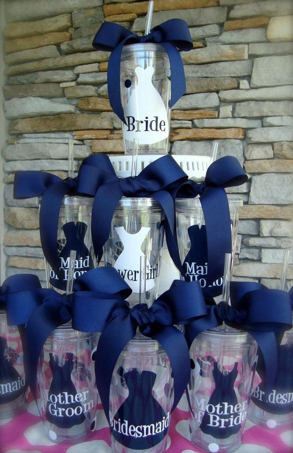 Set of 7 Bridal Party Gifts Personalized 16oz  Acrylic Tumblers  I love this make sure to make them for mothers of bride and groom as well