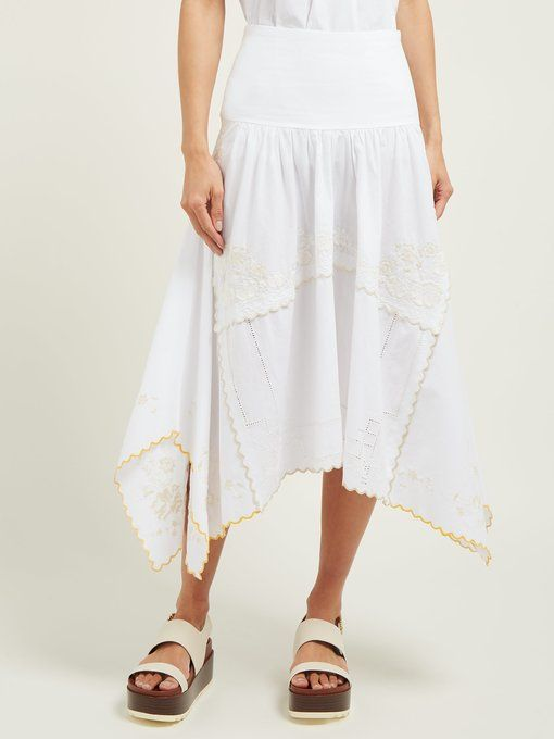 d75ccbc8e3 Floral-embroidered cotton midi skirt | See By Chloé | MATCHESFASHION ...