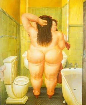 A painting for the bathroom.  I think this one will work.    The Bathroom 1989 by Fernando Botero #oceansbridge