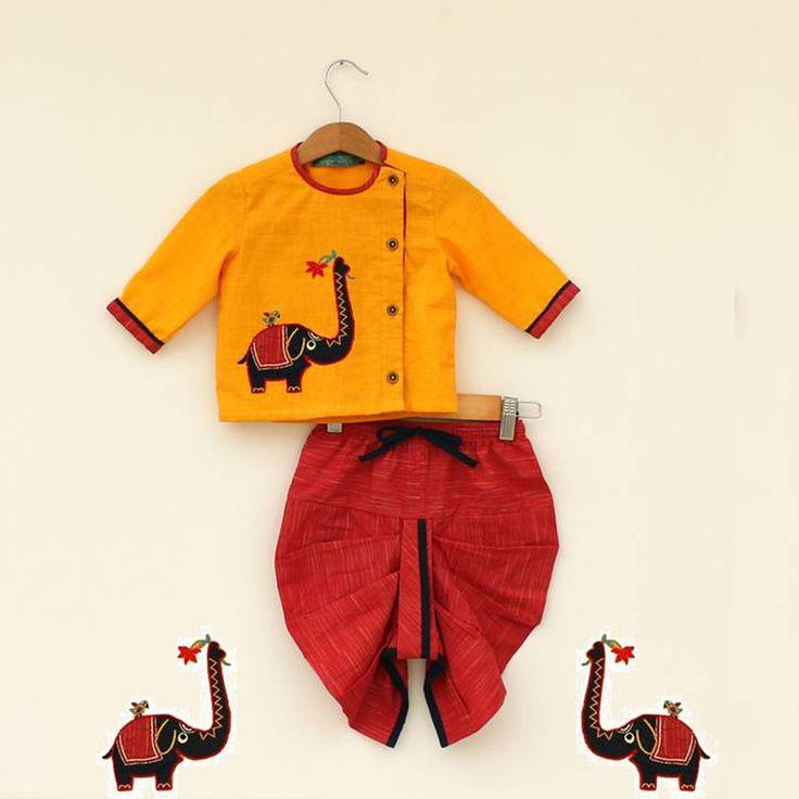 Elephantasia Dhoti Kurta Set. #Stylemylo #kids #onlineshopping #kidswear #designerkidswear #rakhi #ethnic #babygirls #babyboys