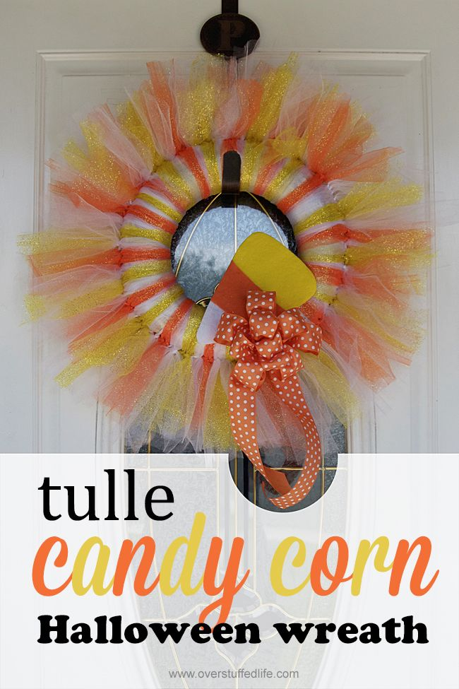 DIY candy corn tulle Halloween wreath—easy to make!