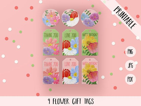 Flower Gift Tags, Flower Favor Tags, Floral Printable Gift Tags, Flower Birthday Tags, Beautiful Flower Printables, Flower Thank You Tags  Print your own birthday or thank you tags! 8,5 x 11 PNG, JPG and PDF files with 9 tags on a sheet. Three version: Thank you, Happy Birthday and Love you. You will receive one sheet in 3 different file types (png, jpg, pdf).    ≈≈≈≈≈≈≈≈≈≈≈≈≈≈≈ WHAT YOU GET: ≈≈≈≈≈≈≈≈≈≈≈≈≈≈≈  • 9 tags per sheet in one zip file; • Dimensions: 8,5 x 11 (3300 x 2550 px) • All…