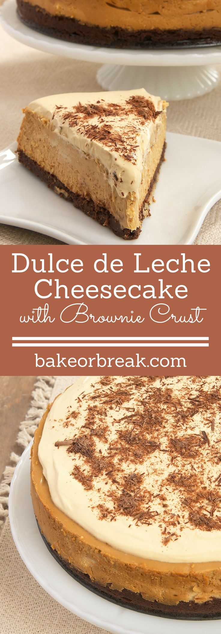 Dulce de Leche Cheesecake with Brownie Crust is an amazingly delicious combination of rich dulce de leche and dark chocolate brownie. - Bake or Break ~ http://www.bakeorbreak.com