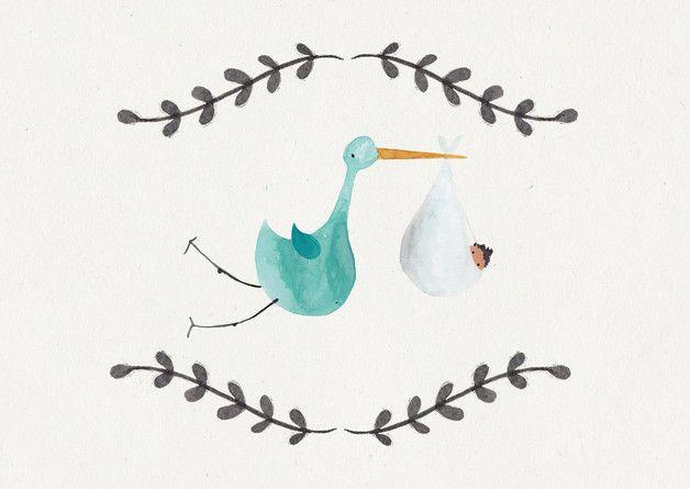 """Illustrierte Postkarte zur Geburt """"Wir werden Eltern"""" / illustrated postcard """"hurray, pregnant"""", birth by bär von pappe via DaWanda.cop"""