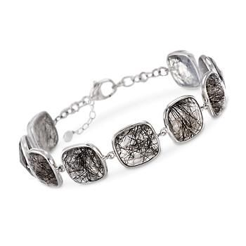 """Ross-Simons - 40.00 ct. t.w. Tourmalinated Quartz Station Bracelet in Sterling Silver. 7.75"""" - #881872"""