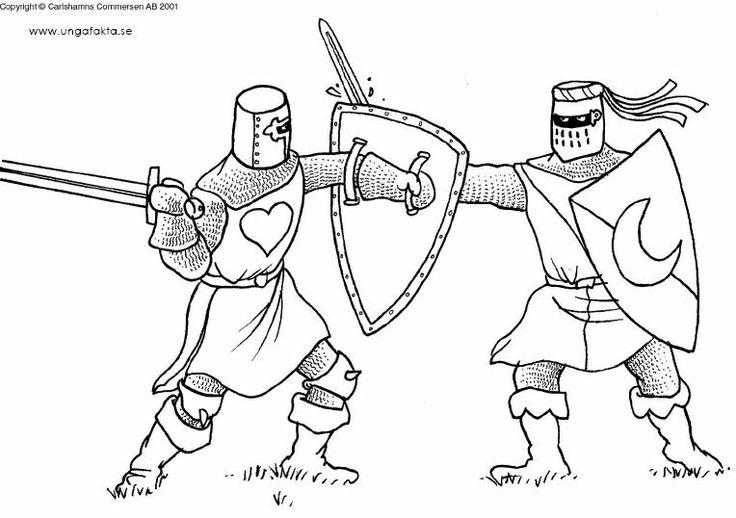 kleurplaten vechtende ridders