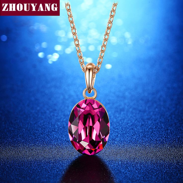 Purple Olive Rose Gold Color Oval Austrian Crystal Pendant Necklace For Wedding Party Birthday Gift ZYN513 ZYN535