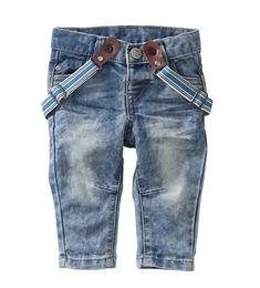 Lässige Baby-Jeans mit Hosenträgern und verstellbarem Bund.