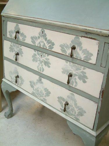 Bookcase Writing bureau Desk Painted shabby chic Country Farmhouse damask