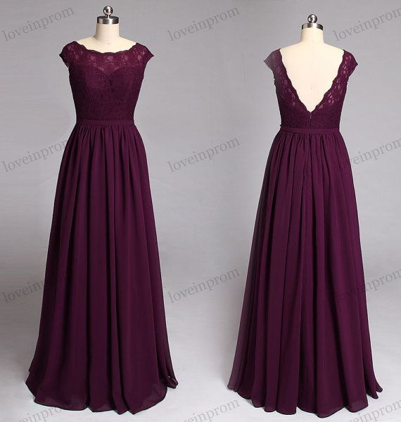 Wine lace bridesmaid dress cap sleeves long chiffon for Vineyard wedding dresses for guests