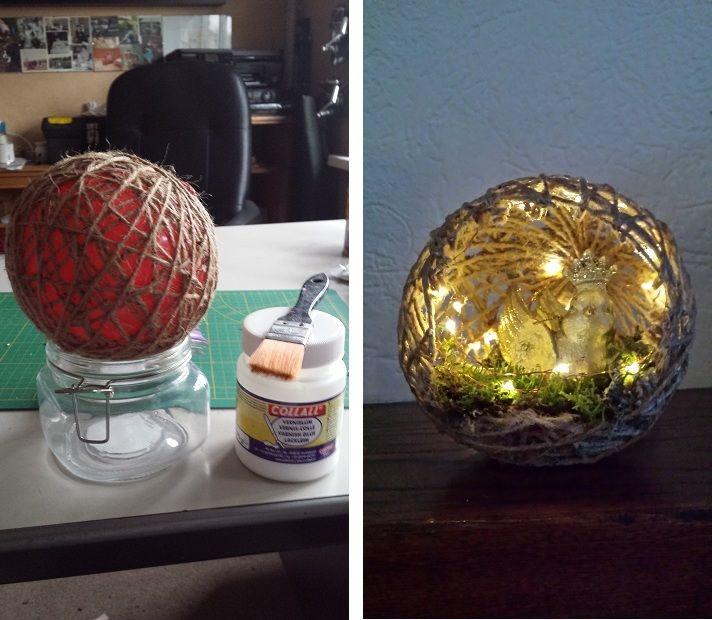 Ballon met touw insmeren met modpodge laten drogen open knippen en vullen met b.v. mos, lichtjes etc.