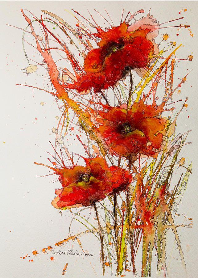 """Poppies"" by Ivelina Vladimirova. #watercolor jd"