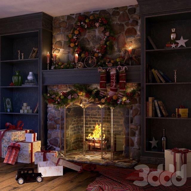 3d модели: Камины и радиаторы - Новогоднее оформление камина