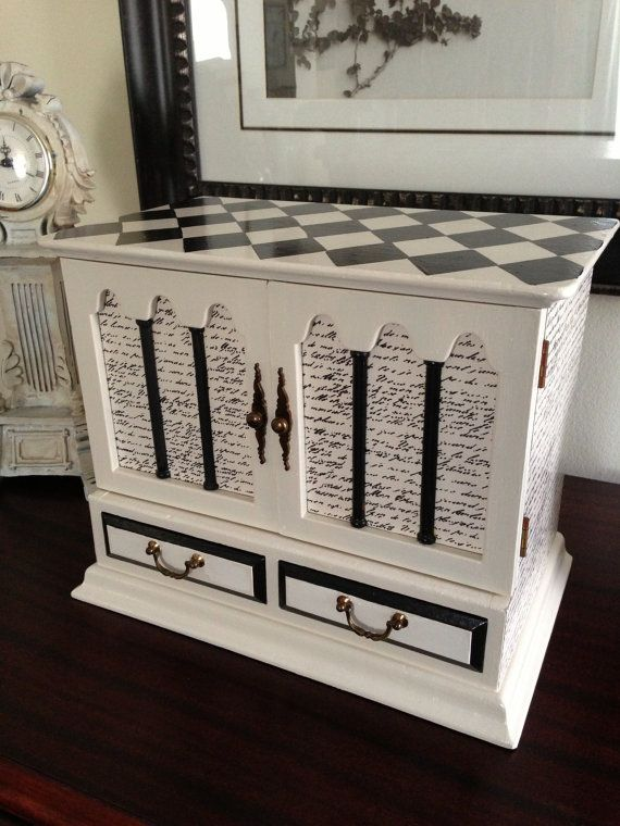 Antique Jewelry Box Upcycled Hand Painted by ColorfulHomeDesigns, $120.00