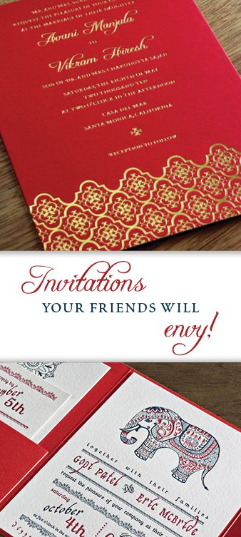 Multicultural and Bilingual Wedding Invitations | Indian Wedding Cards | Custom Indian Wedding Invitations | Invitations by Ajalon