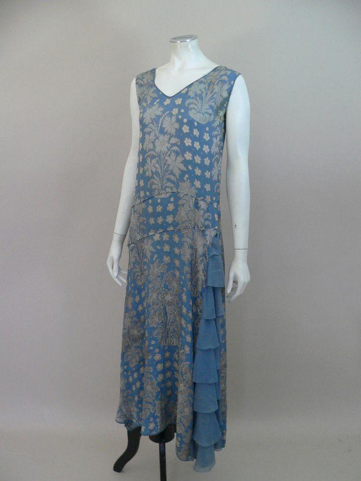 Fabulous original 1920s silk brocade and chiffon flapper dress