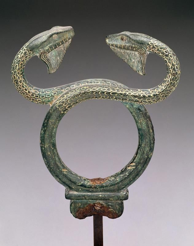 Upper part of caduceus, the staff of Hermes -  early 5th century B.C. Greek