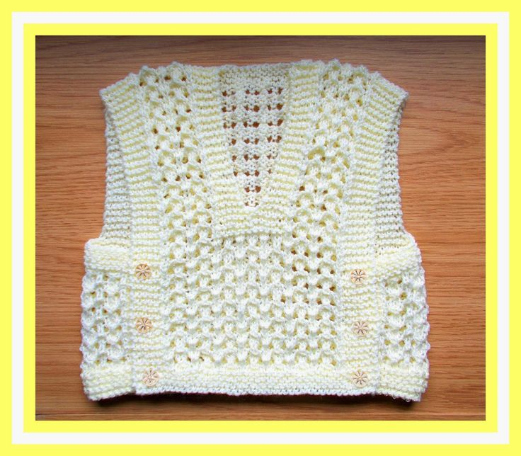 This cute littlebaby top was inspired by a photo of a beautiful Turkish knitted baby vest.  It is knitted all in one piece and there...