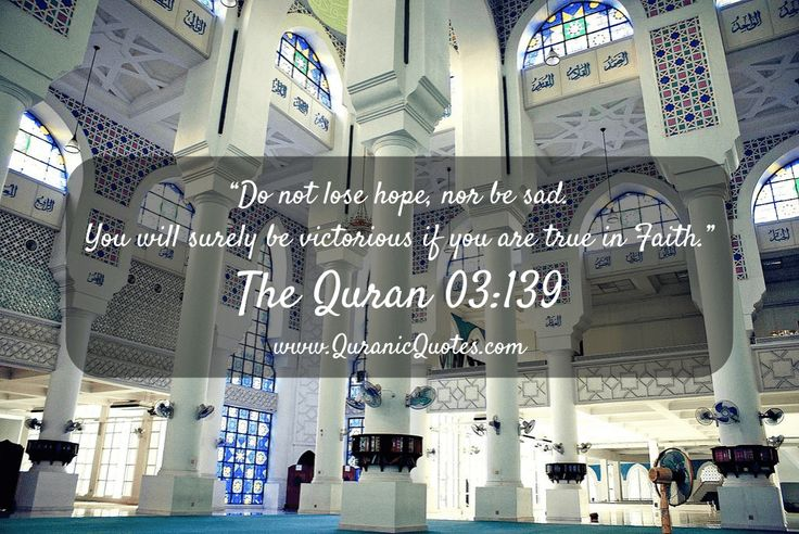 "#114 The Quran 03:139 (Surah al-Imran) ""Do not lose hope, nor be sad. You will surely be victorious if you are true in Faith."""