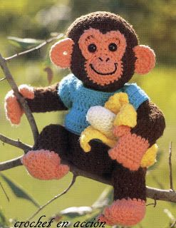 Charlie Chimp: free crochet pattern. The translate button is at the top of the page. To enlarge the instructions, just click on the original instructions on the home page.