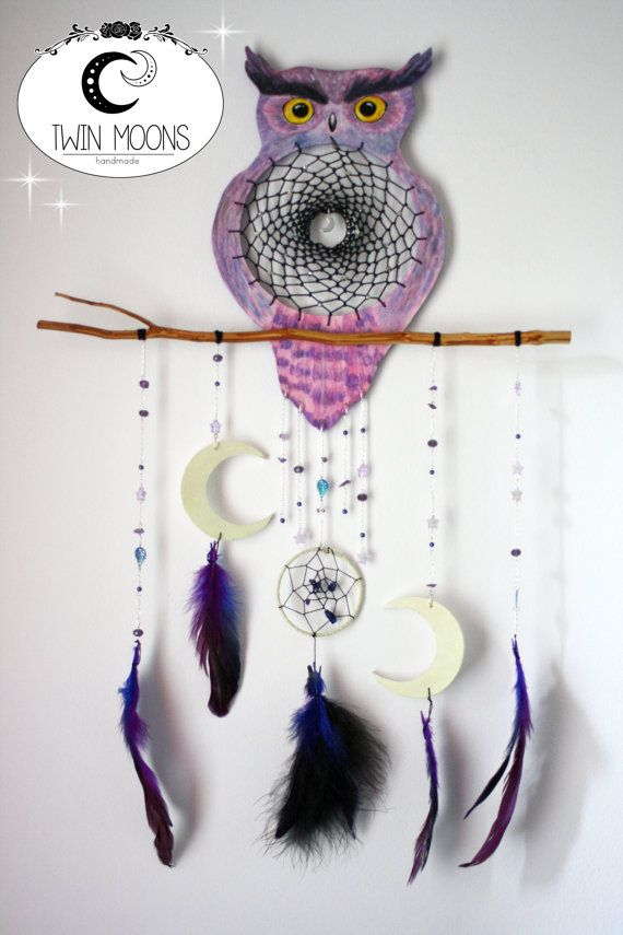 Owl dream catcher ooak  h.65cm by TwinMoonsHandmade on Etsy