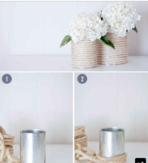 Easy DIY table decorations - cans and wine bottles