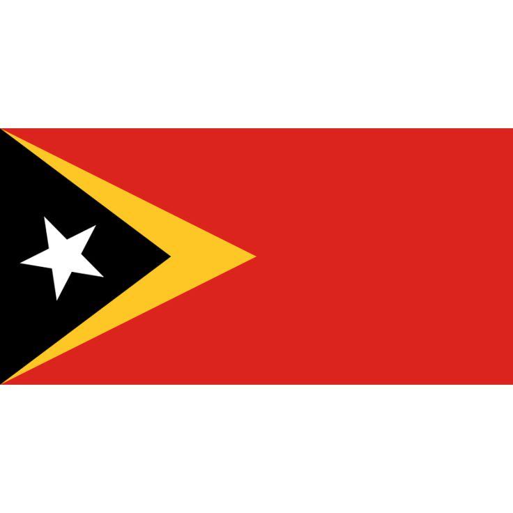 vlag Oost-Timor | Oost-Timorese vlaggen 100x150cm De vlag van Oost-Timor is sinds 20 mei 2002, de dag dat Oost-Timor onafhankelijk werd, de officiële vlag van het land.  Volgens de grondwet symboliseert de gele kleur de sporen van kolonialisme in de geschiedenis van het land. Zwart staat voor de donkere momenten die overwonnen zijn en nog overwonnen moeten worden. Rood vertegenwoordigt de onafhankelijkheidsstrijd, terwijl de witte ster vrede symboliseert.