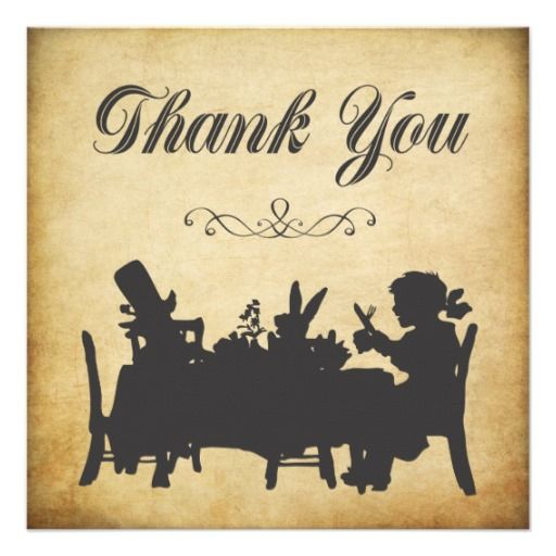 458 best tea party birthday invitations images on pinterest vintage alice in wonderland tea party thank you card stopboris Image collections