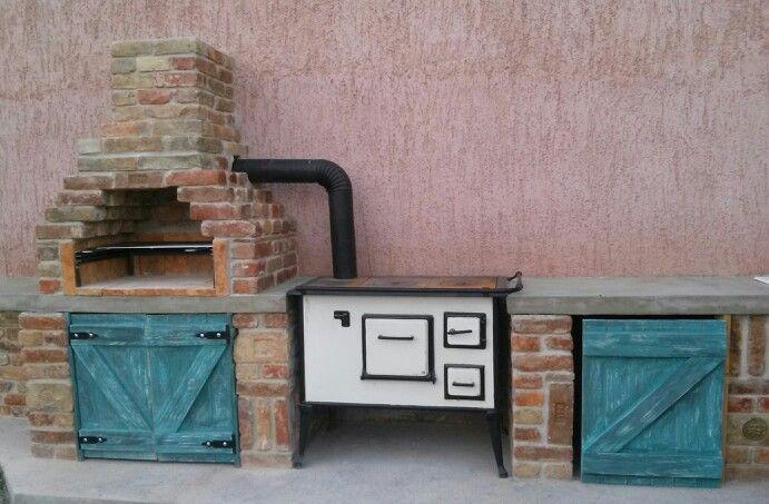 outdoor kitchen-vintage provence style