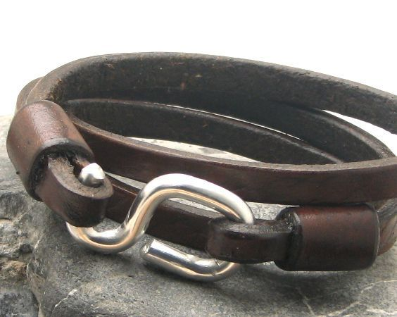 FREE SHIPPING Men's leather bracelet Brown leather by eliziatelye, $32.00