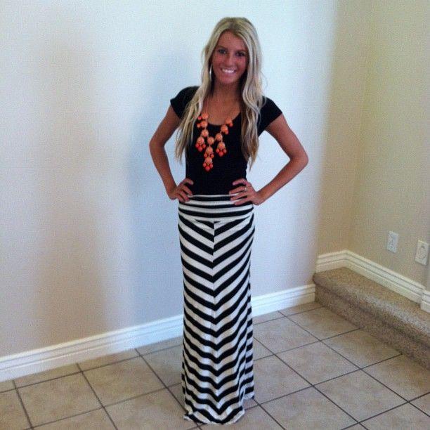Chevron Black and White Long Maxi Skirt-