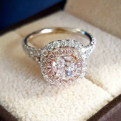 Details about 1.90 Ct Natural Double Halo Split Shank Pink Diamonds Engagement Ring