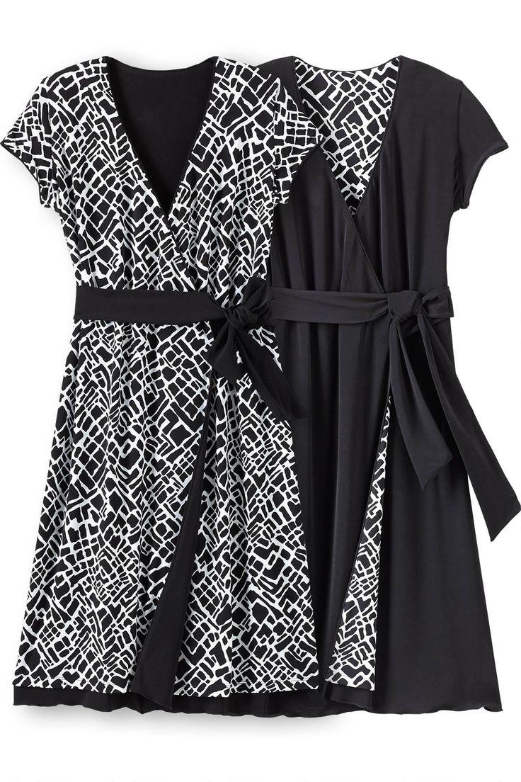 Samantha Brown Short Sleeve Reversible Wrap Dress