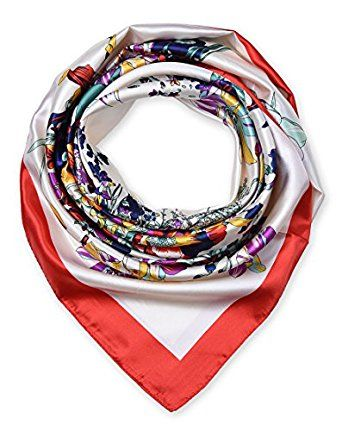 """corciova 35"""" Women's Neckerchief Satin Smooth Scarf for Hair Wrapping at Night Red $9.99 Free Shipping"""