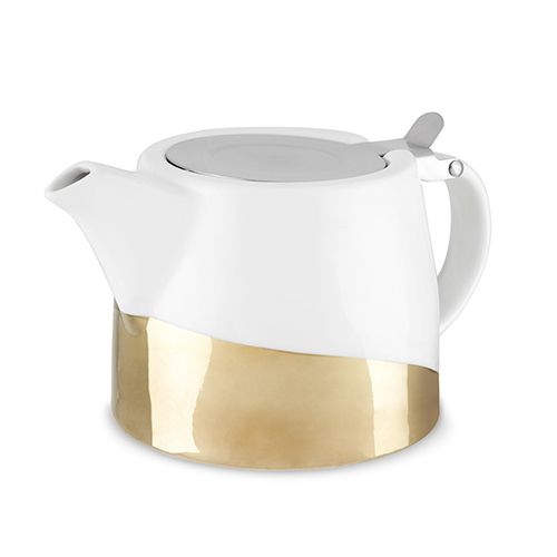 Up your tea game with this perky little pot from Pinky Up! ?The hinged stainless steel lid, wide lipped infuser, and sturdy ceramic frame take all the fuss out of loose leaf preparation. ?Clean-up is a snap, so go on and break out those leaves!<BR><ul><li