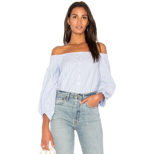 MCGUIRE Navarte Cold Shoulder Top ($230) ❤ liked on Polyvore featuring tops, fashion tops, mcguire, open shoulder top, cut-out shoulder tops, cut out shoulder top and elastic top