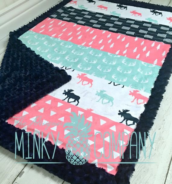 Girl Moose Baby Blanket Designer Faux Quilt by TheDesignerMinkyCo