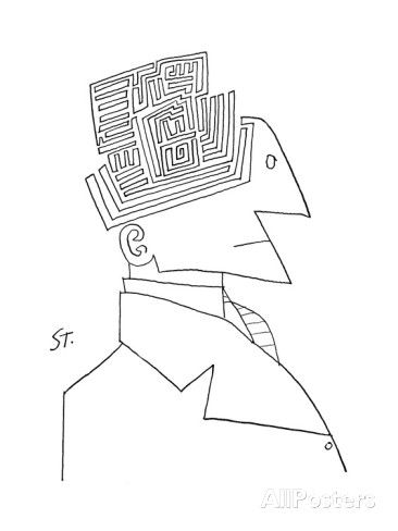 Bust of man. The top of his head is a maze. - New Yorker Cartoon プレミアムジクレープリント