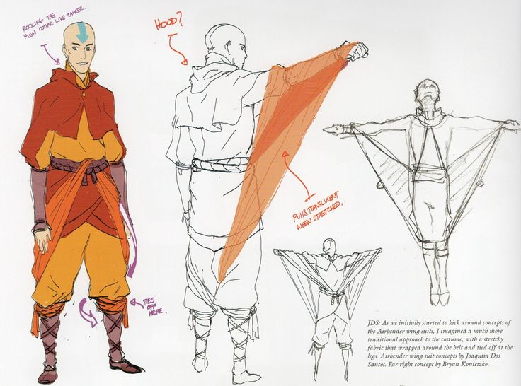 mcmossybankthe3rd:  JDS: As we initially started to kick around concepts of the Airbender wing suits, I imagined a much more traditional approach to the costume, with a stretchy fabric that wrapped around the belt and tied off at the legs. Airbender wing suit concepts by Joaquim Dos Santos. Far right concept by Bryan Konietzko.