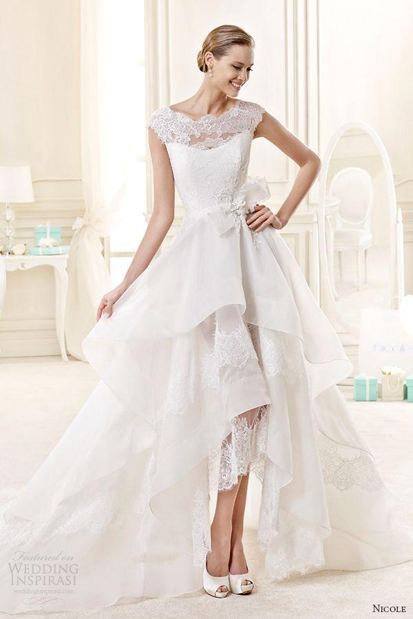 nicole spose de noiva 2015 Estilo 27 Ilusão niab15079iv hum vestido de noiva mullet Camadas Linha