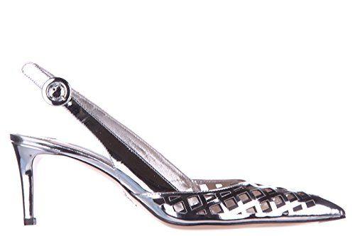 PRADA Prada Women'S Leather Pumps Court Shoes High Heel Capretto Lamina Silver. #prada #shoes #shoes
