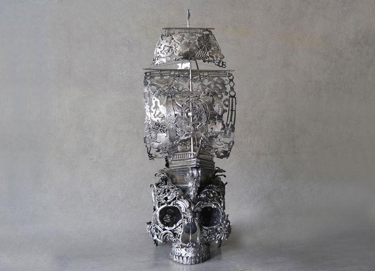 Steampunk Tendencies | Voyage - Alain Bellino sculpture #Sculpture #Skullhead #Surreal