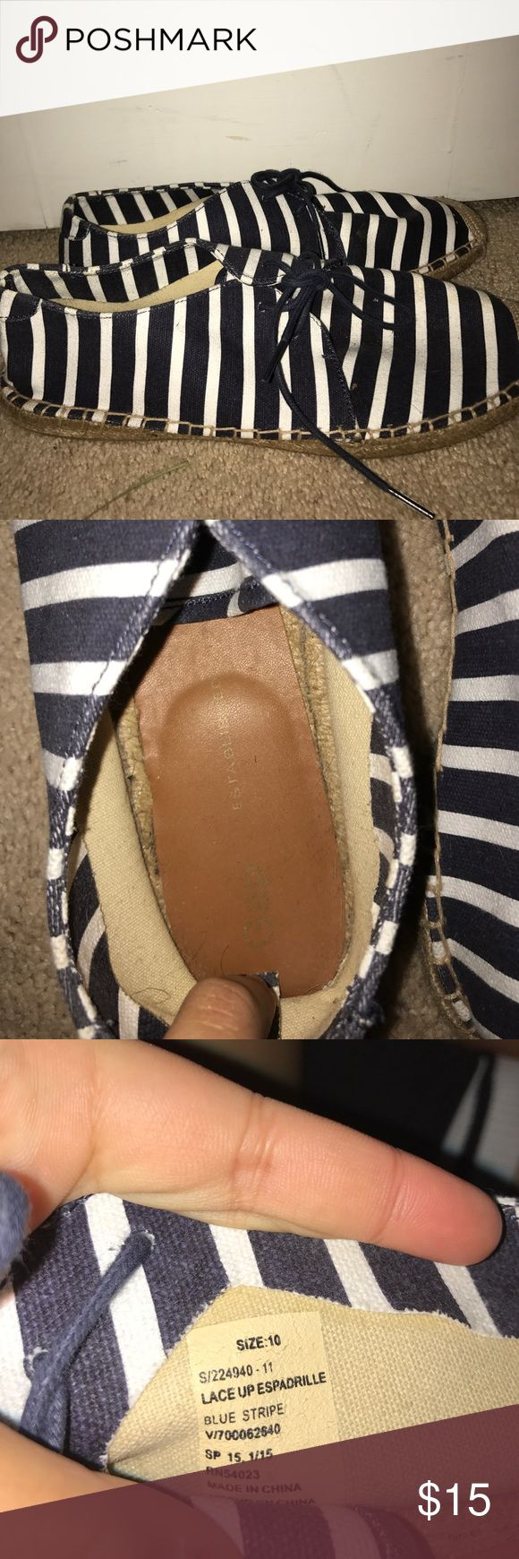 Navy Blue and White Gap Espadrilles Never Worn Espadrille shoes from gap. Never really had anything to wear them w/ so theres no need for them to sit in my closet. No signs of wear, tear, or any damages. GAP Shoes Espadrilles