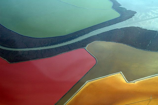 "The San Francisco Bay Salt Ponds From An Airplane  ""Salt evaporation ponds"" Photo by Doc Searls"