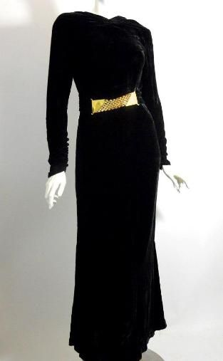 1930s gown with gold belt