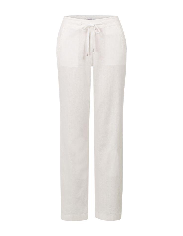 Witte broek met elastiek in de taille en rechte pijpen met elastiek. Het item is voorzien van aantrektouwtjes en heeft zakken op het voorpand. #missetam