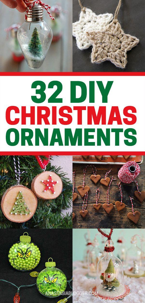Diy Christmas Ornaments Ideas 32 Easy Elegant Ornaments From Pinterest Christmas Ornaments Diy Christmas Ornaments Christmas Decor Diy
